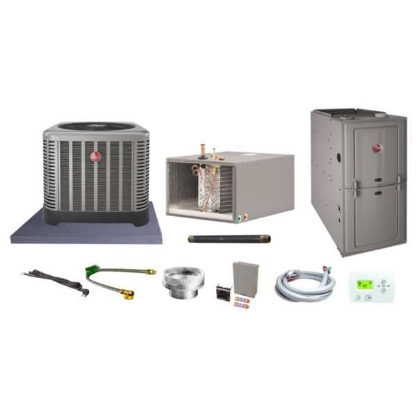 Rheem (AHRI 8236959) 3 Ton, 14.5 SEER/12.2 EER Classic Series, Horizontal Furnace Split System and Install Kit