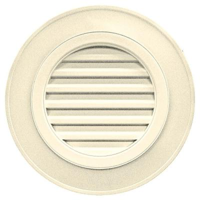 28 in. Round Gable Vent in Cream (without Keystones)