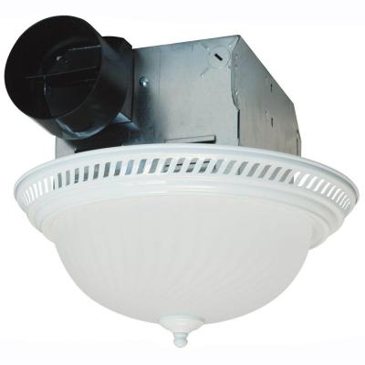 Decorative White 70 CFM Ceiling Exhaust Fan with Light