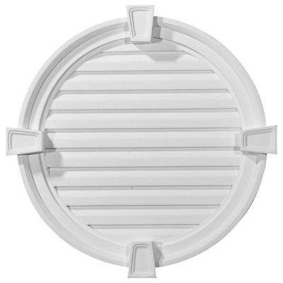 2-1/8 in. x in. x in. Functional Round Gable Vent with Keystones