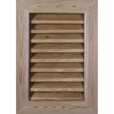21 in. x 35 in. Smooth Western Red Cedar Functional Gable Vent with Flat Trim Unfinished (16 in. x 30 in. Rough Opening)